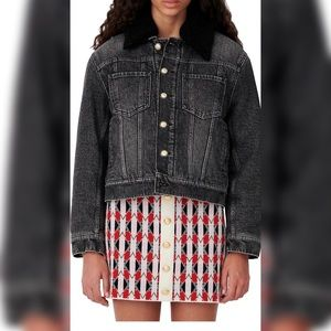 Maje Anthracite Biche Faux Fur-Trim Denim Jacket